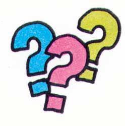 Drei farbige Fragezeichen