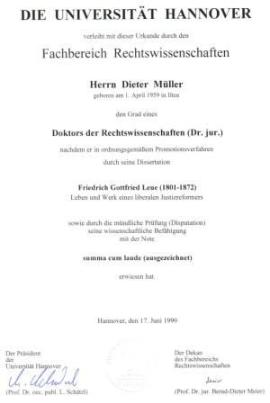 Scan der Promotionsurkunde von Prof. Dr. Dieter Müller; Bildquelle: IVV Bautzen