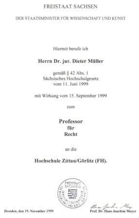 Scan der Berufungsurkunde von Prof. Dr. Dieter Müller; Bildquelle: IVV Bautzen